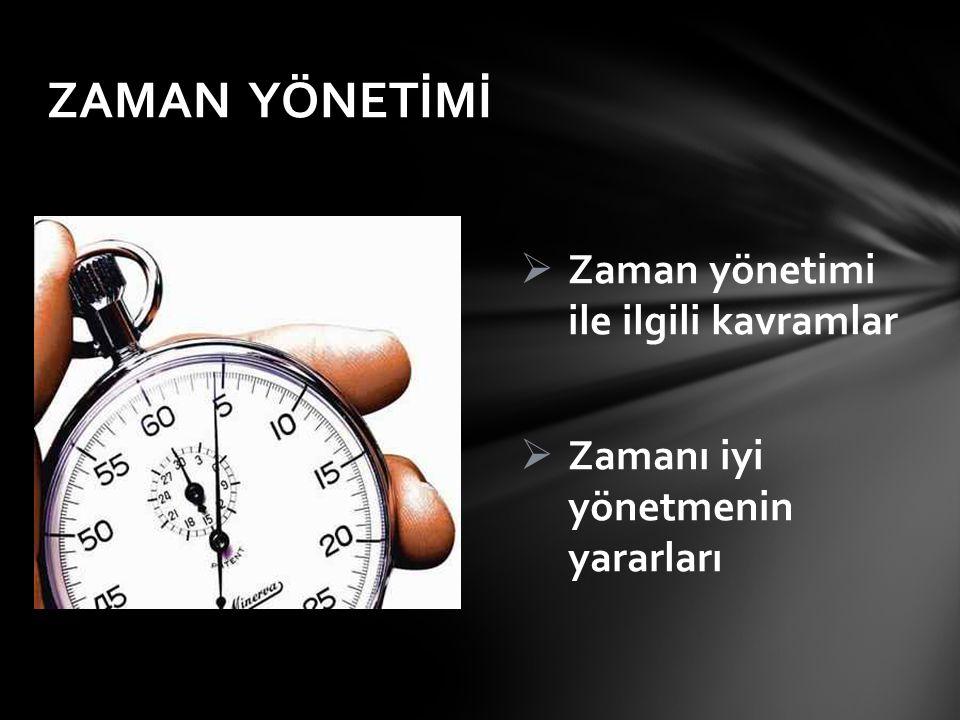 ZAMAN YÖNETİMİ Zaman yönetimi ile ilgili kavramlar