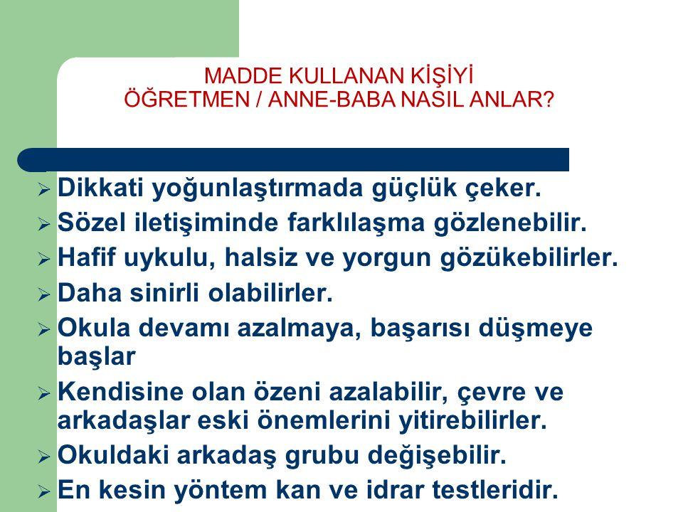 MADDE KULLANAN KİŞİYİ ÖĞRETMEN / ANNE-BABA NASIL ANLAR