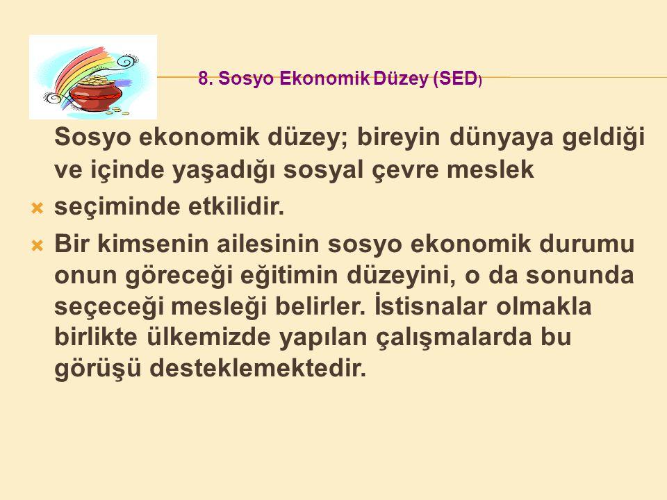8. Sosyo Ekonomik Düzey (SED)