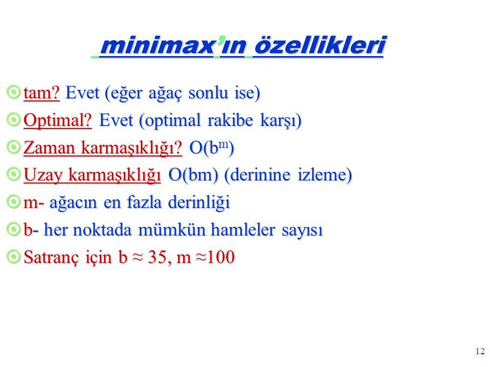 minimax'ın özellikleri