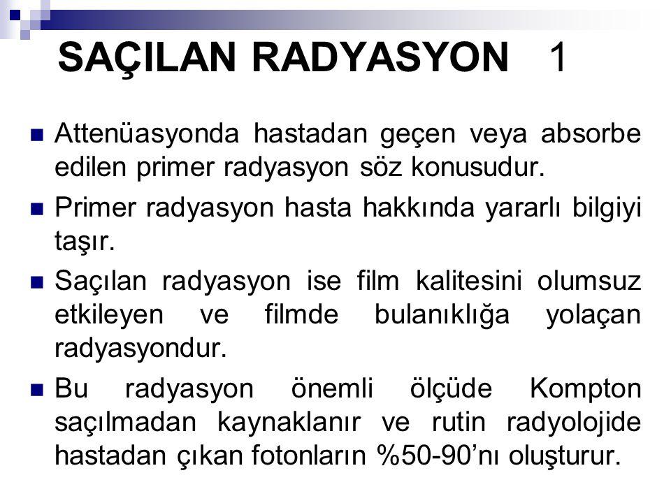 SAÇILAN RADYASYON 1 Attenüasyonda hastadan geçen veya absorbe edilen primer radyasyon söz konusudur.