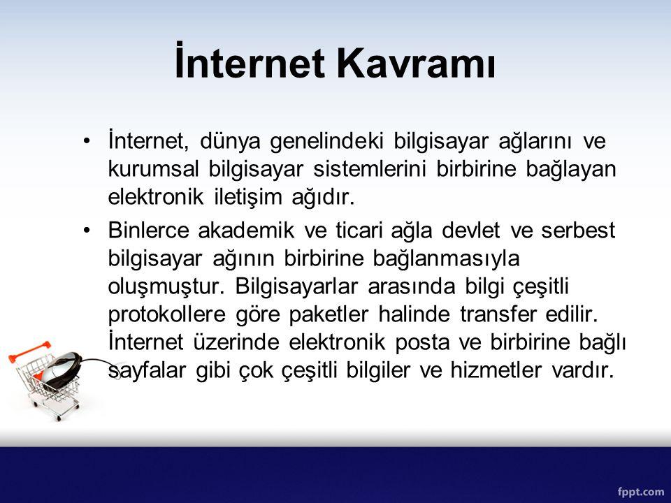 İnternet Kavramı İnternet, dünya genelindeki bilgisayar ağlarını ve kurumsal bilgisayar sistemlerini birbirine bağlayan elektronik iletişim ağıdır.