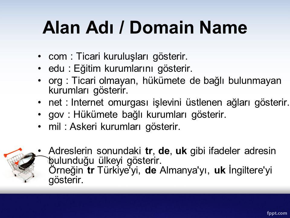 Alan Adı / Domain Name com : Ticari kuruluşları gösterir.