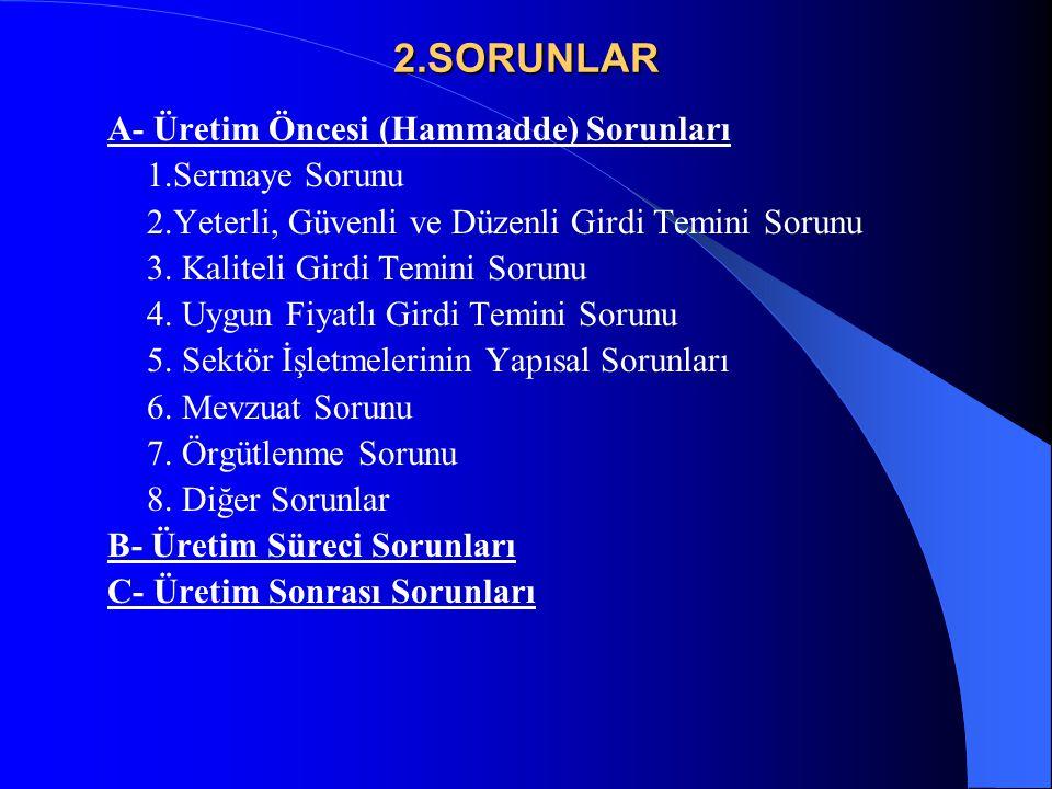 2.SORUNLAR A- Üretim Öncesi (Hammadde) Sorunları 1.Sermaye Sorunu