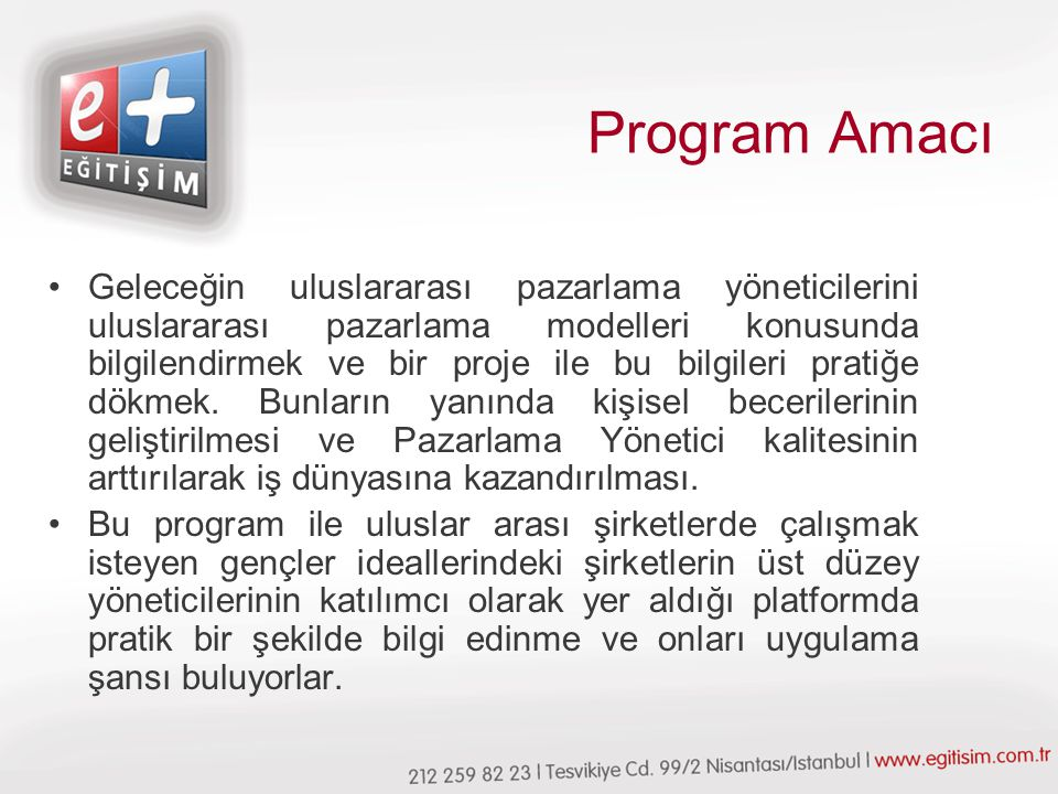 Program Amacı
