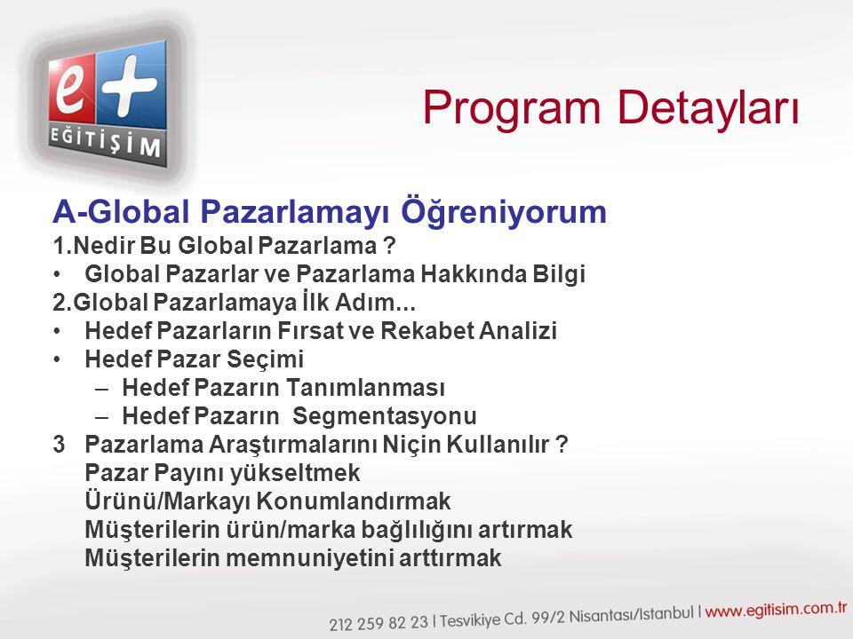 Program Detayları A-Global Pazarlamayı Öğreniyorum