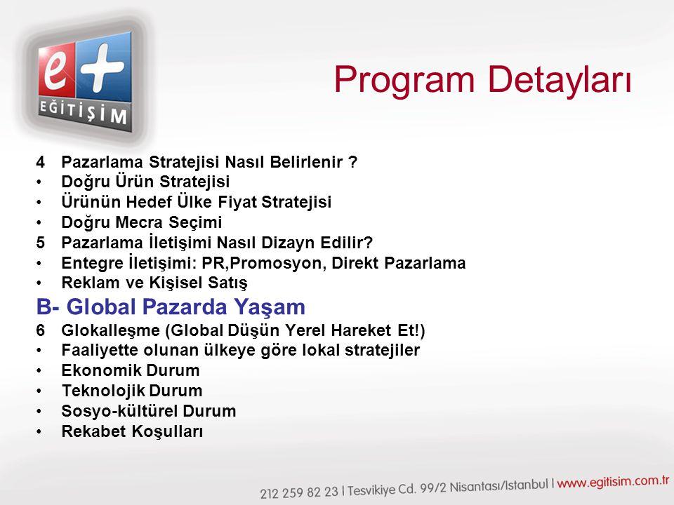 Program Detayları B- Global Pazarda Yaşam