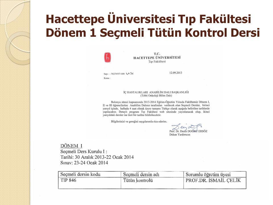 Hacettepe Üniversitesi Tıp Fakültesi Dönem 1 Seçmeli Tütün Kontrol Dersi