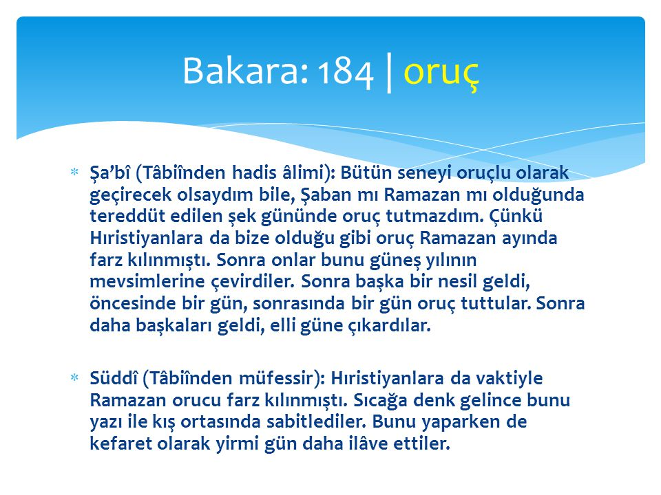 Bakara: 184 | oruç