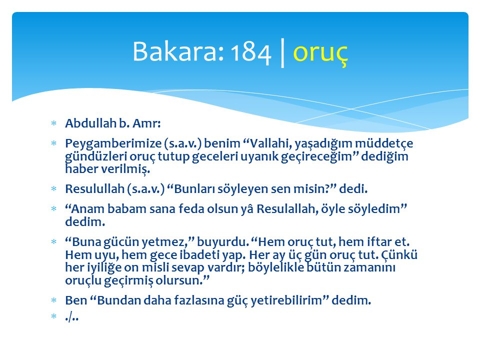Bakara: 184 | oruç Abdullah b. Amr: