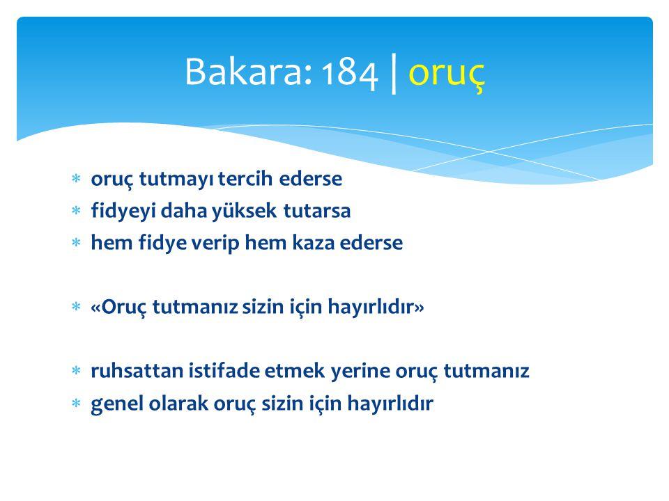 Bakara: 184 | oruç oruç tutmayı tercih ederse