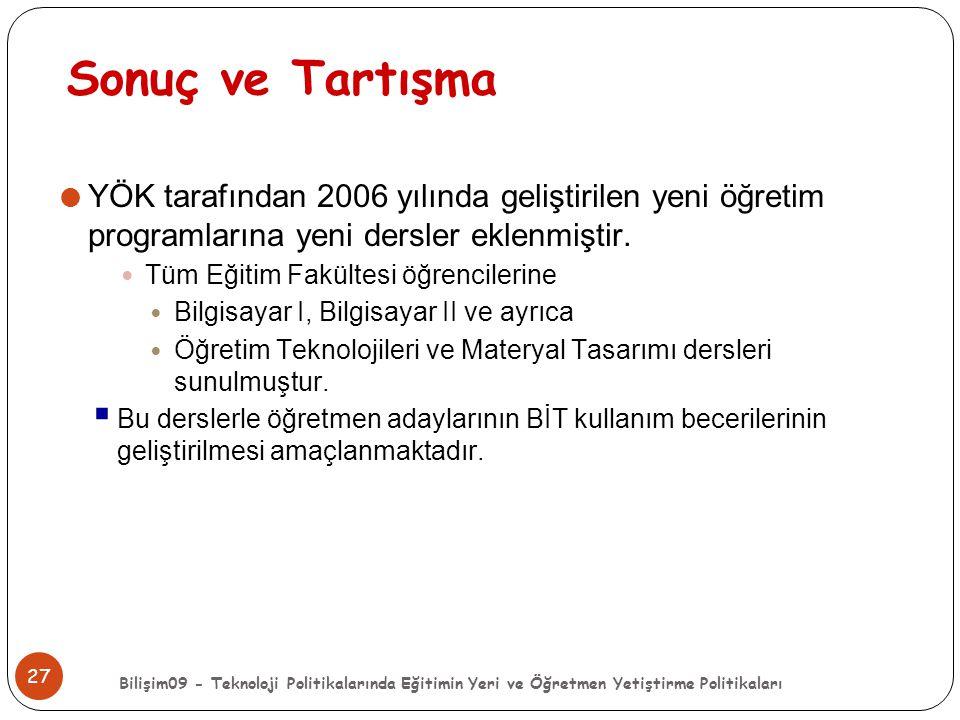 Sonuç ve Tartışma YÖK tarafından 2006 yılında geliştirilen yeni öğretim programlarına yeni dersler eklenmiştir.