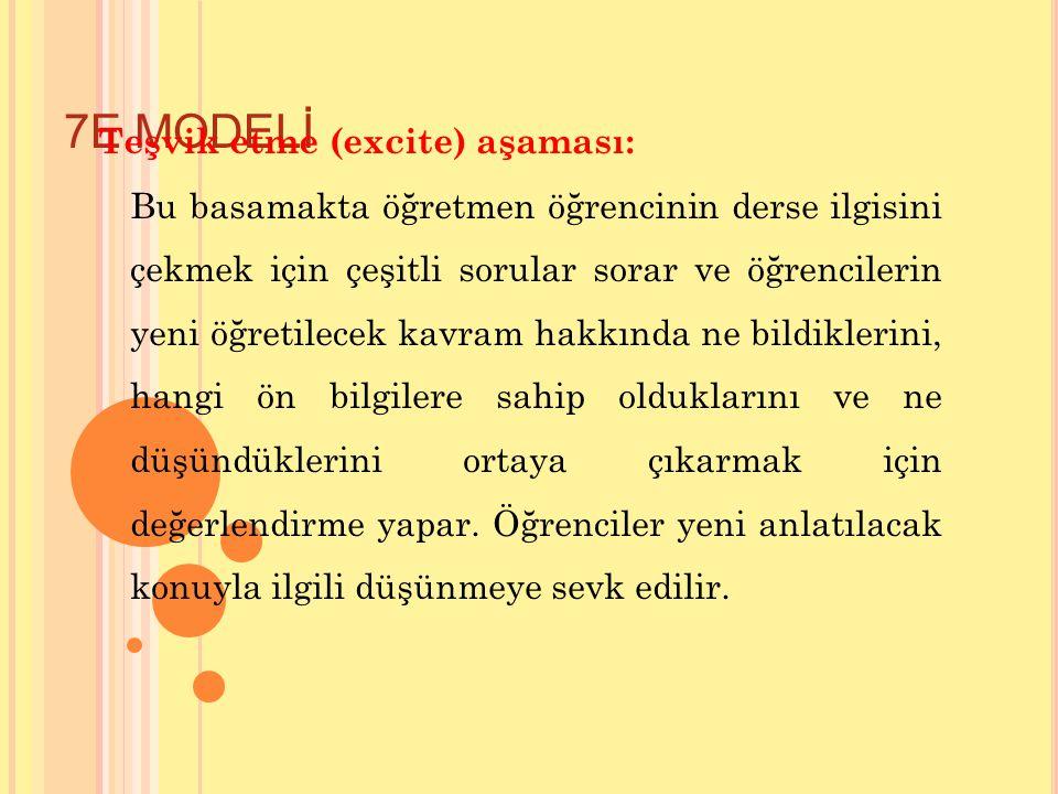7E MODELİ Teşvik etme (excite) aşaması: