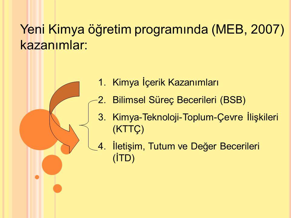 Yeni Kimya öğretim programında (MEB, 2007) kazanımlar: