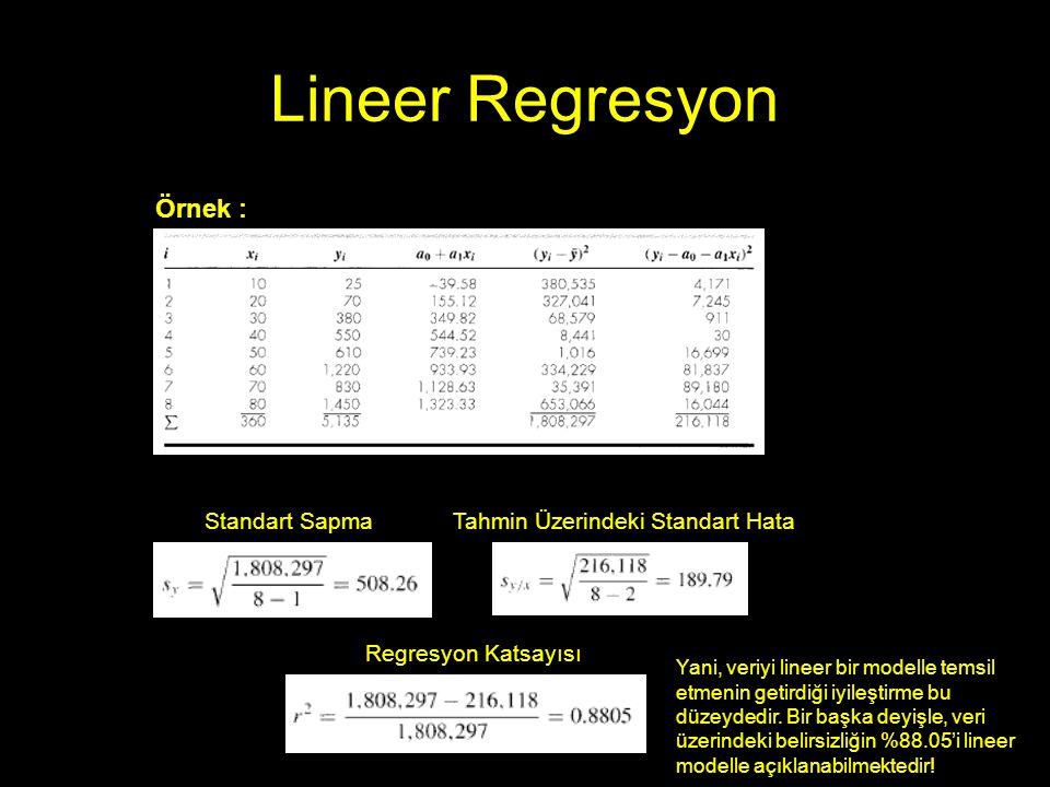 Lineer Regresyon Örnek : Standart Sapma