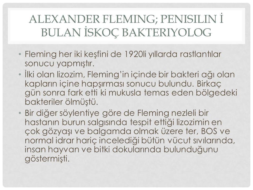 ALEXANDER FLEMING; penisilin İ bulan İskoç Bakteriyolog