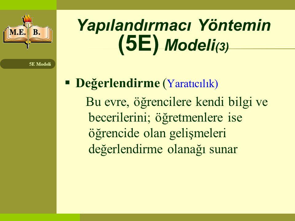 Yapılandırmacı Yöntemin (5E) Modeli(3)