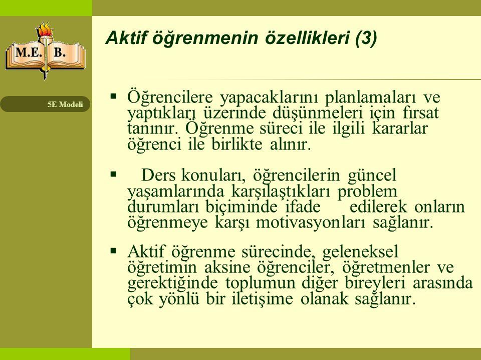 Aktif öğrenmenin özellikleri (3)