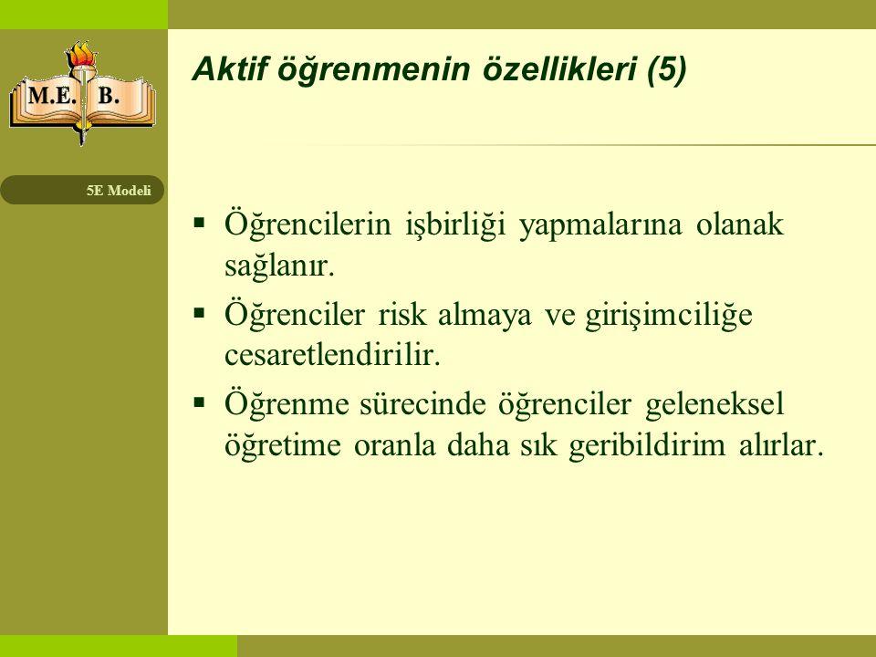 Aktif öğrenmenin özellikleri (5)
