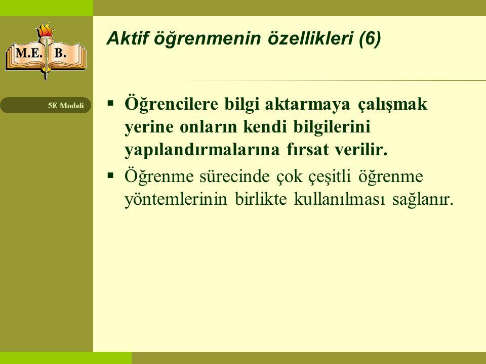 Aktif öğrenmenin özellikleri (6)