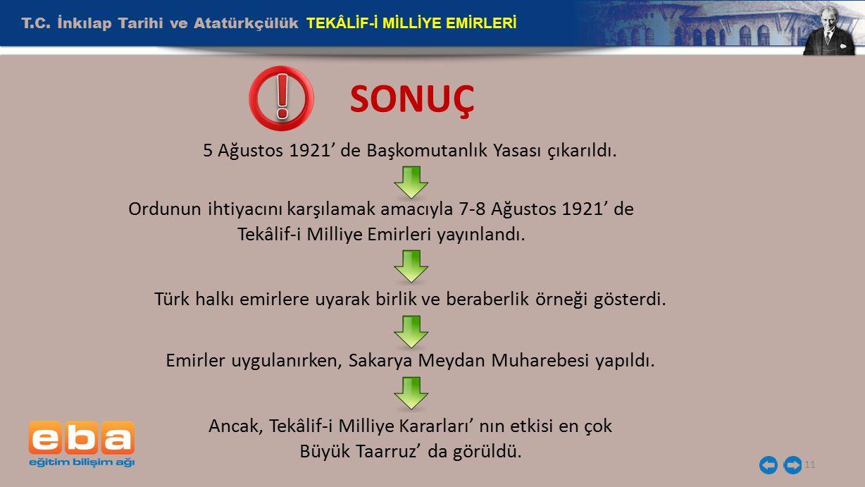 ! SONUÇ T.C. İnkılap Tarihi ve Atatürkçülük TEKÂLİF-İ MİLLİYE EMİRLERİ