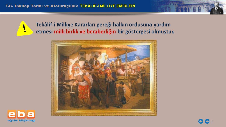 T.C. İnkılap Tarihi ve Atatürkçülük TEKÂLİF-İ MİLLİYE EMİRLERİ