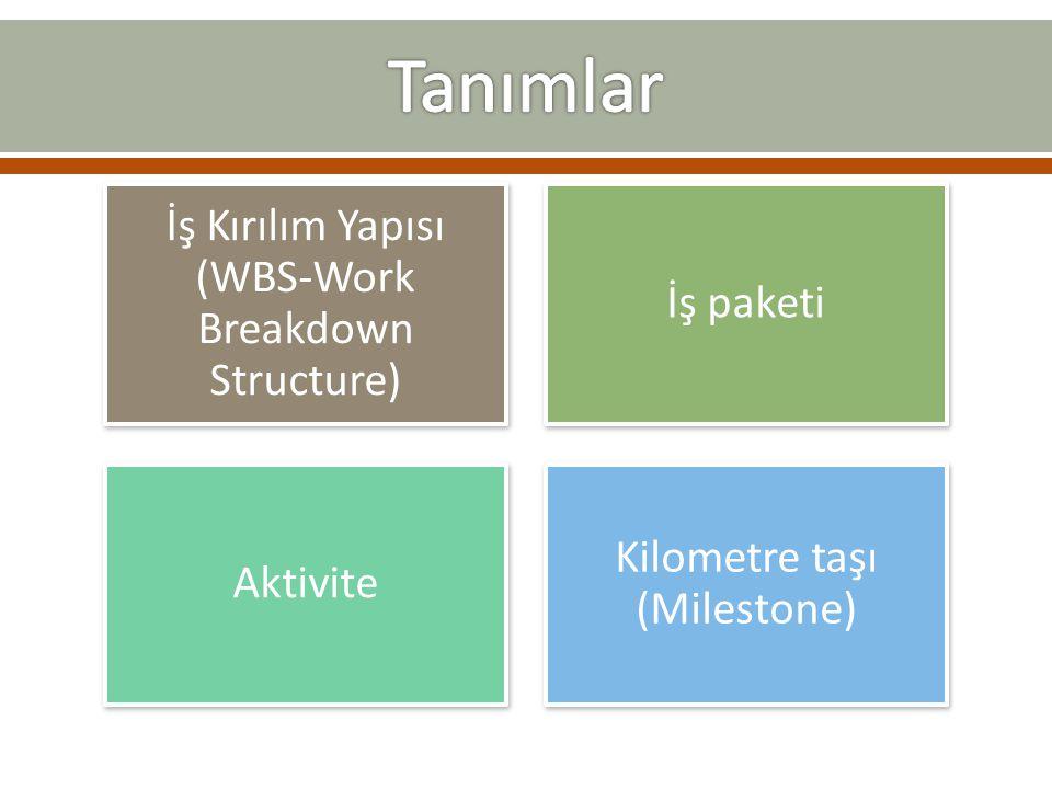 Tanımlar İş Kırılım Yapısı (WBS-Work Breakdown Structure) İş paketi