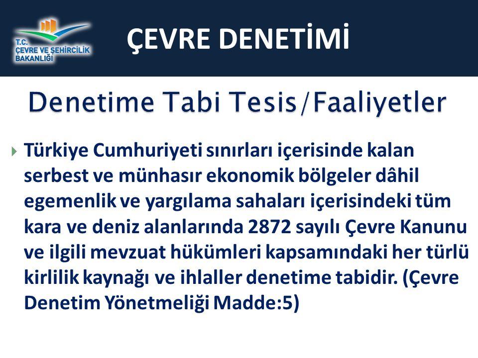 ÇEVRE DENETİMİ Denetime Tabi Tesis/Faaliyetler