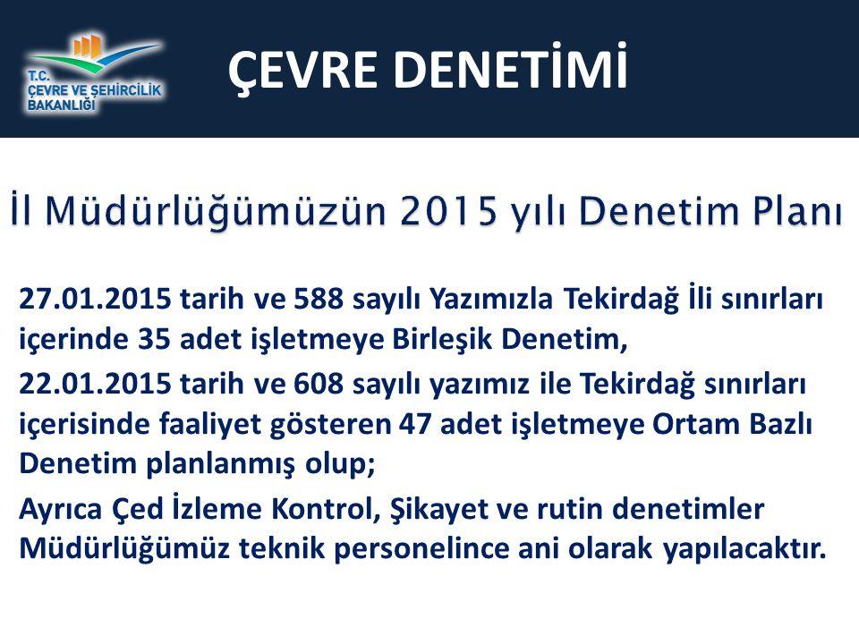 ÇEVRE DENETİMİ İl Müdürlüğümüzün 2015 yılı Denetim Planı