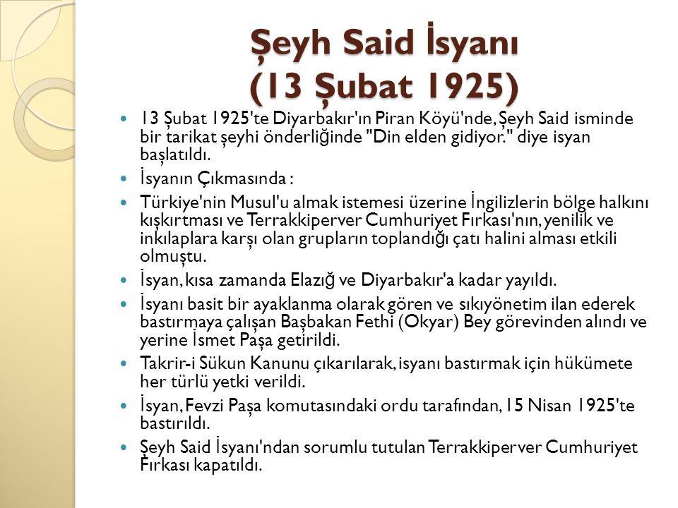 Şeyh Said İsyanı (13 Şubat 1925)