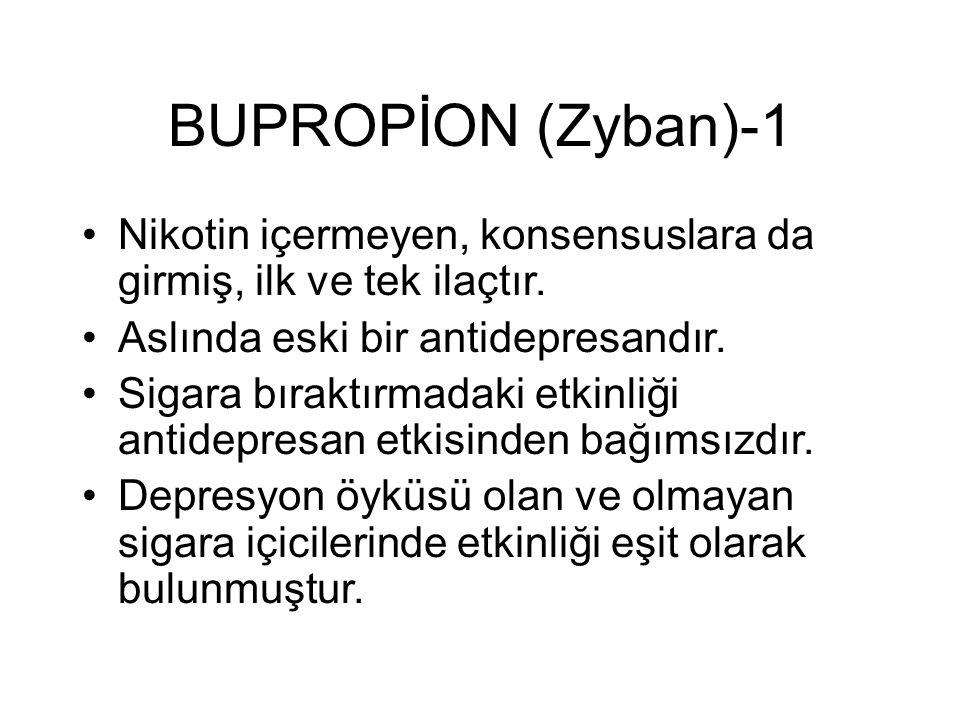 BUPROPİON (Zyban)-1 Nikotin içermeyen, konsensuslara da girmiş, ilk ve tek ilaçtır. Aslında eski bir antidepresandır.