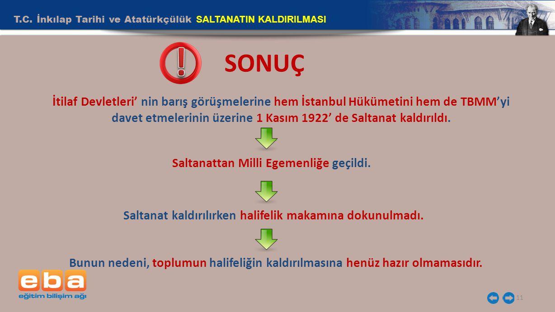 ! SONUÇ T.C. İnkılap Tarihi ve Atatürkçülük SALTANATIN KALDIRILMASI