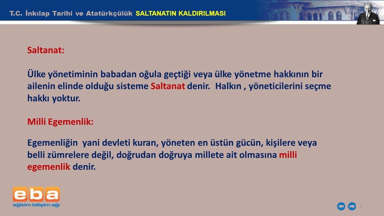 T.C. İnkılap Tarihi ve Atatürkçülük SALTANATIN KALDIRILMASI