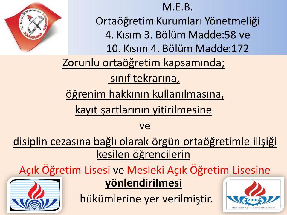 M. E. B. Ortaöğretim Kurumları Yönetmeliği 4. Kısım 3