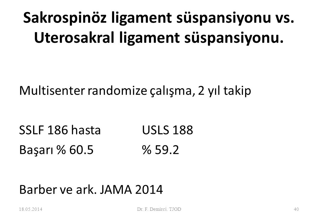 Posterior IVS vs. SSF IVS: (n=21), SSF: (n=24) Prospektif randomize