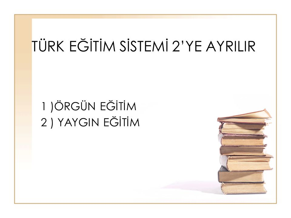 TÜRK EĞİTİM SİSTEMİ 2'YE AYRILIR
