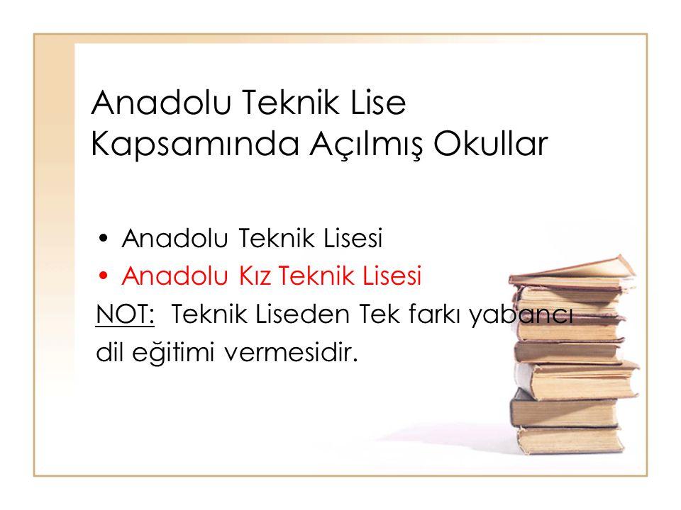 Anadolu Teknik Lise Kapsamında Açılmış Okullar