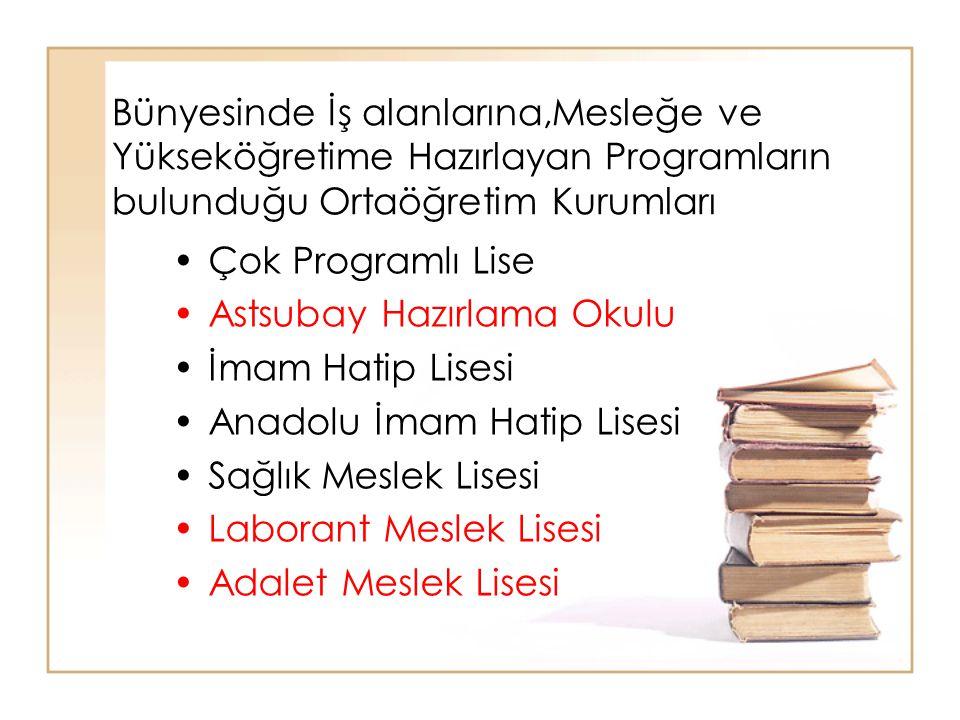 Bünyesinde İş alanlarına,Mesleğe ve Yükseköğretime Hazırlayan Programların bulunduğu Ortaöğretim Kurumları