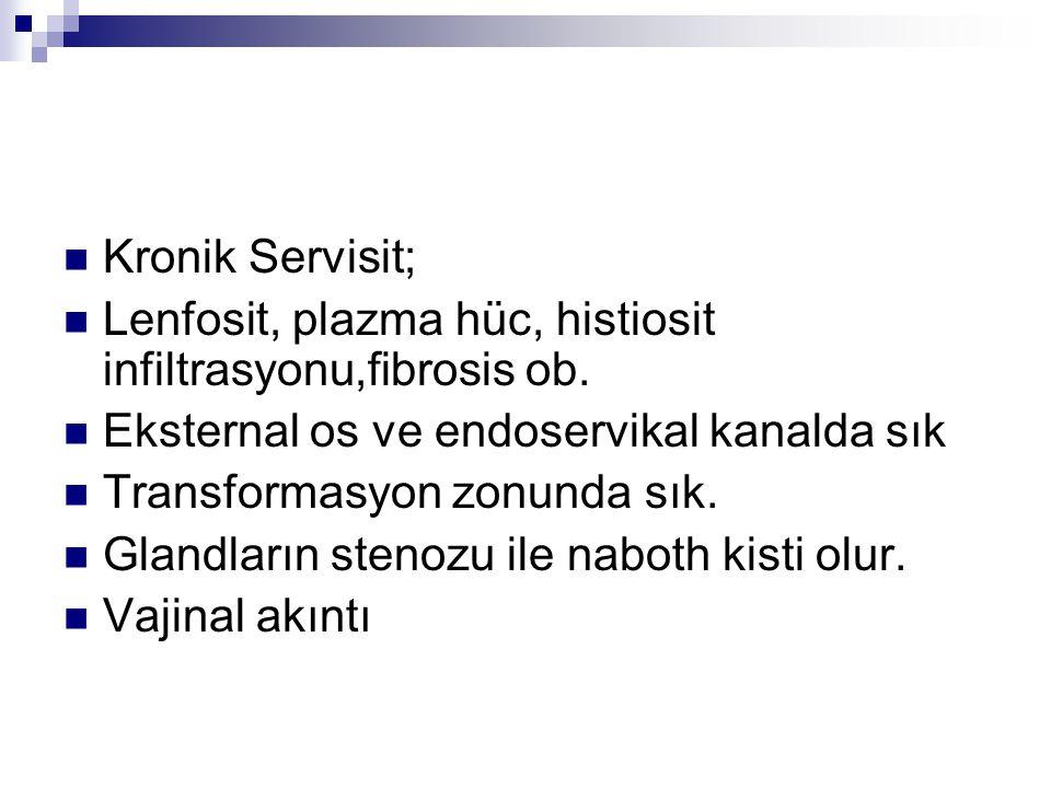 Kronik Servisit; Lenfosit, plazma hüc, histiosit infiltrasyonu,fibrosis ob. Eksternal os ve endoservikal kanalda sık.