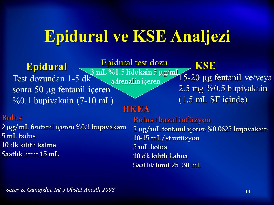 Epidural ve KSE Analjezi
