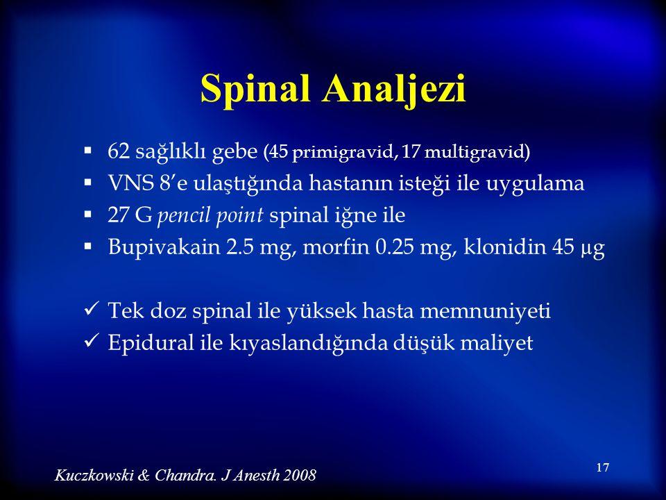 Spinal Analjezi 62 sağlıklı gebe (45 primigravid, 17 multigravid)
