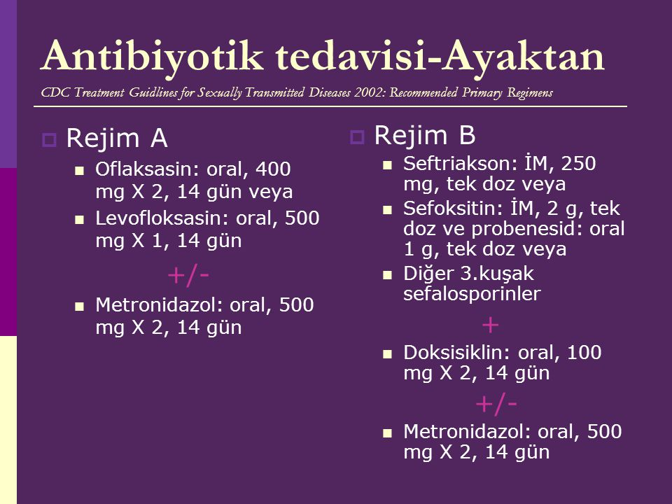 Antibiyotik tedavisi-Ayaktan CDC Treatment Guidlines for Sexually Transmitted Diseases 2002: Recommended Primary Regimens