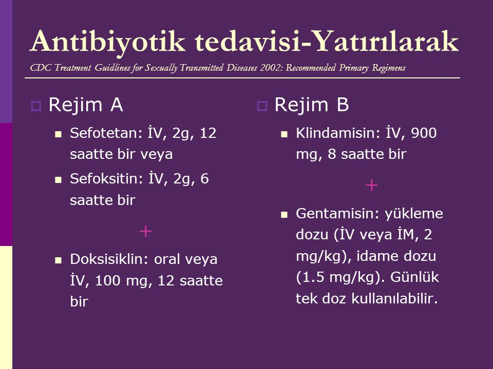 Antibiyotik tedavisi-Yatırılarak CDC Treatment Guidlines for Sexually Transmitted Diseases 2002: Recommended Primary Regimens