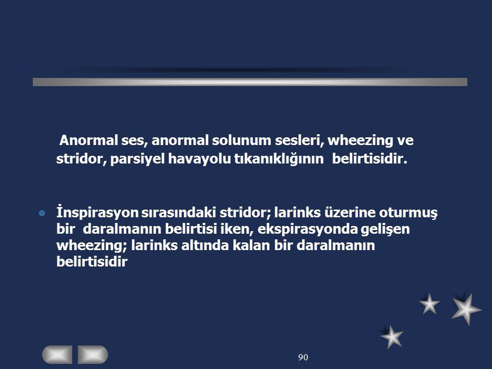 Anormal ses, anormal solunum sesleri, wheezing ve stridor, parsiyel havayolu tıkanıklığının belirtisidir.