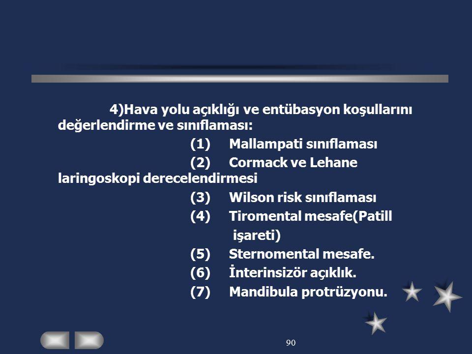(1) Mallampati sınıflaması