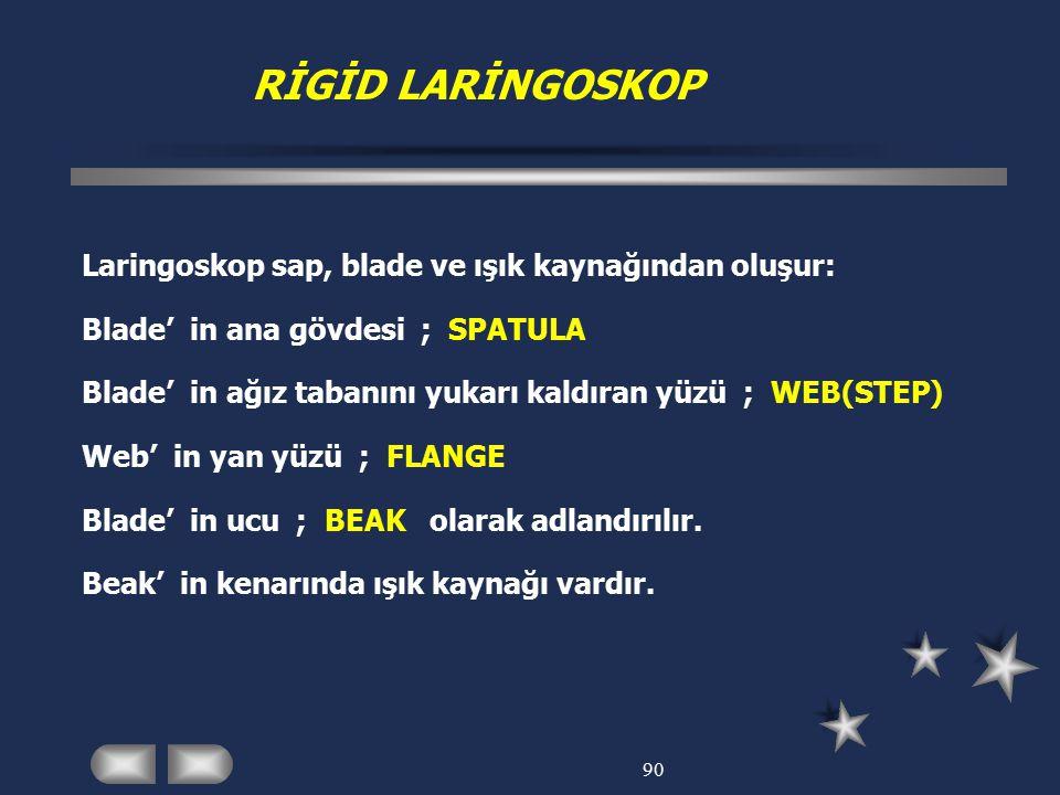 RİGİD LARİNGOSKOP Laringoskop sap, blade ve ışık kaynağından oluşur: