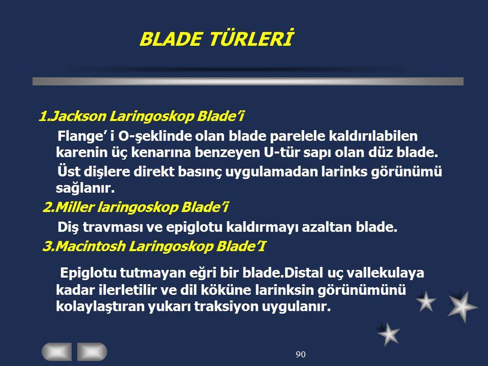 BLADE TÜRLERİ 1.Jackson Laringoskop Blade'i.