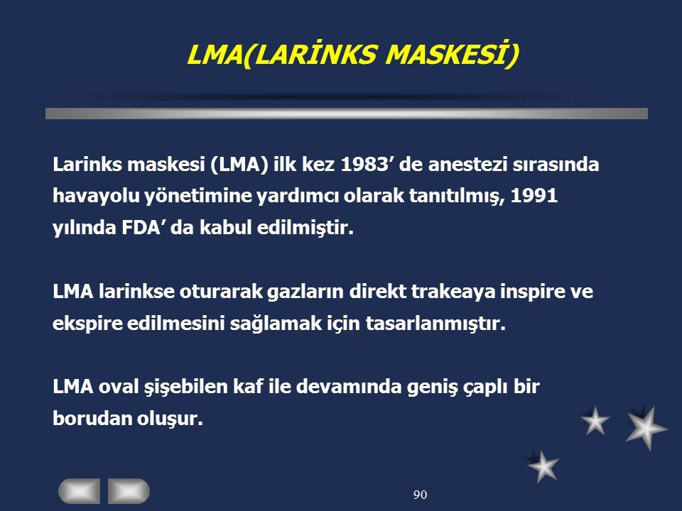 LMA(LARİNKS MASKESİ) Larinks maskesi (LMA) ilk kez 1983' de anestezi sırasında. havayolu yönetimine yardımcı olarak tanıtılmış, 1991.