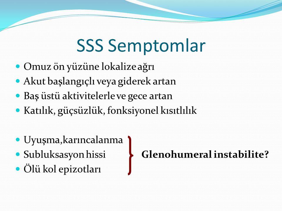 SSS Semptomlar Omuz ön yüzüne lokalize ağrı