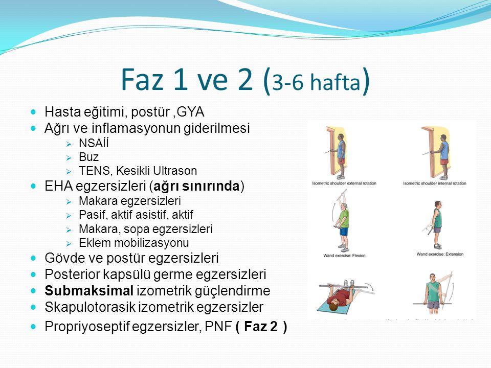 Faz 1 ve 2 (3-6 hafta) Hasta eğitimi, postür ,GYA